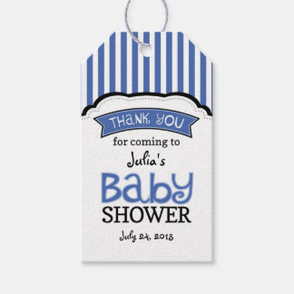 Striped Blue White Baby Shower Thank You Tags