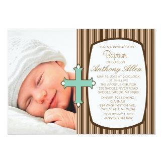 "Striped Boys Photo Baptism Invitation 5"" X 7"" Invitation Card"