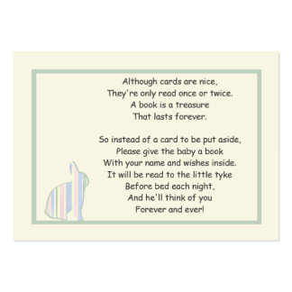 Striped Bunny Baby Shower Book Poem - Insert Card Business Card