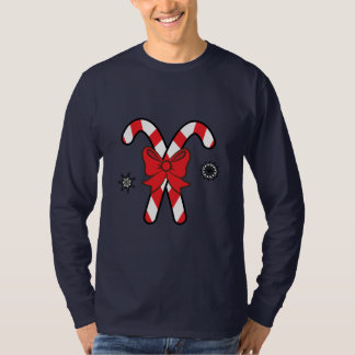 Striped Candy Canes Tied with a Bow at Christmas T-Shirt
