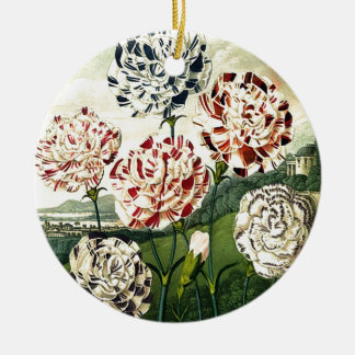 Striped Carnations Ceramic Ornament