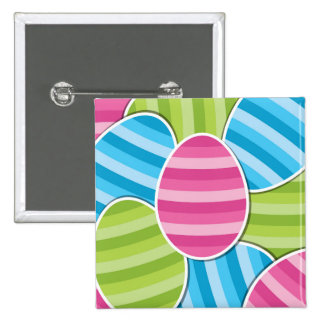 Striped Cartoon Easter Eggs 2 Inch Square Button