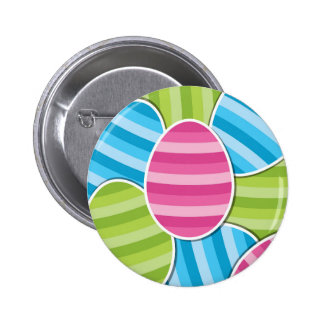 Striped Cartoon Easter Eggs 2 Inch Round Button