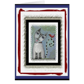 Striped Cat & Red Bird - blue/red version Card