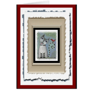 Striped Cat & Red Bird - funky greeting card (5)