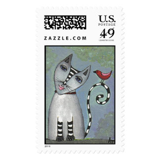 Striped Cat & Red Bird - Postage Stamp