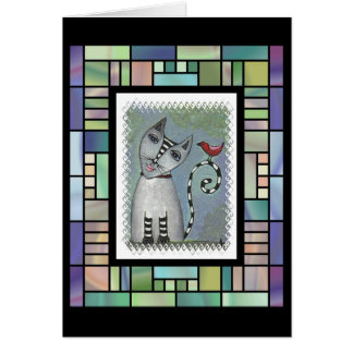 Striped Cat & Red Bird -stained glass version card