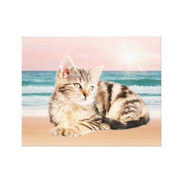 Beach Themed Striped Cat Sitting on Beach sunset Oil Painting Canvas Print