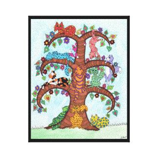 Striped Cat Tree of Life Canvas Print