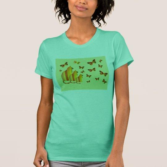 Striped cats & butterflies T-Shirt