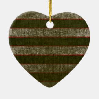 Striped Ceramic Heart Christmas Ornament