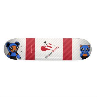Striped Cherry Robo Neko and Teddy Skateboard