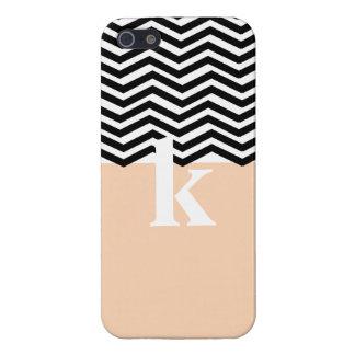 Striped Chevron Salmon Monogrammed Iphone 5 Case