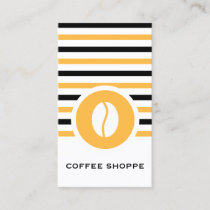 Striped Chic Coffee Bean Business Card