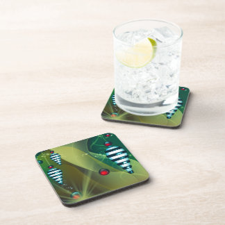 Striped Christmas Baubles Beverage Coaster