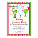 "Striped Christmas Cocktails Party Invitation 5"" X 7"" Invitation Card"