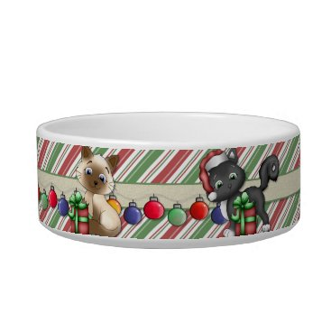Christmas Themed Striped Christmas Holiday Cat Dish - Customize