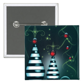 Striped Christmas Tree Baubles 2 Inch Square Button