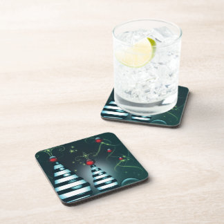 Striped Christmas Tree Baubles Beverage Coaster