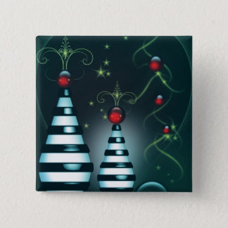 Striped Christmas Tree Baubles Pinback Button