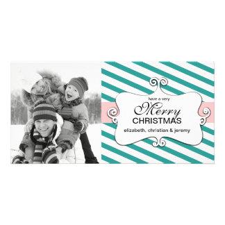 Striped Christmas Whimsy Photo Cards - aqua
