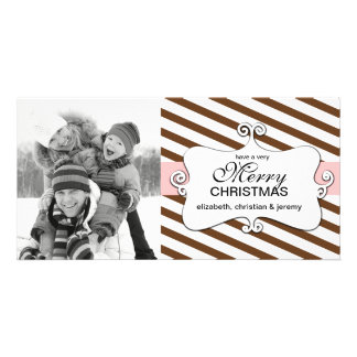 Striped Christmas Whimsy Photo Cards - chocolate