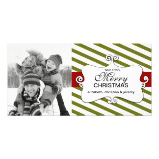 Striped Christmas Whimsy Photo Cards - green