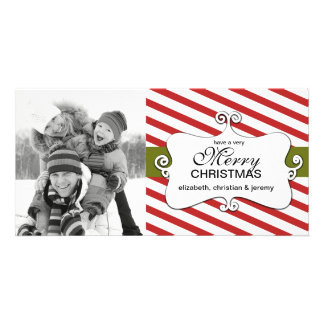 Striped Christmas Whimsy Photo Cards - red