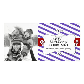 Striped Christmas Whimsy Photo Cards - violet