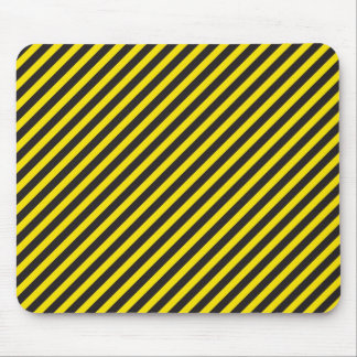 Striped Construction - Yellow & Black Diagonal Mouse Pad