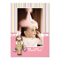 Striped Cowgirl Photo Thank You Card