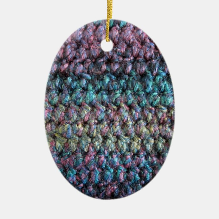 Striped crocheted knitted wool ceramic ornament