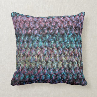 Striped crocheted knitted wool throw pillows