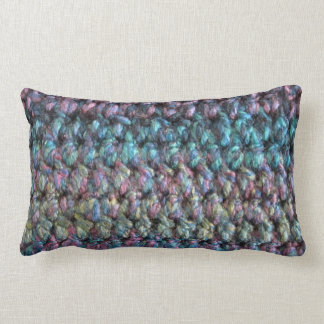 Striped crocheted knitted wool pillow