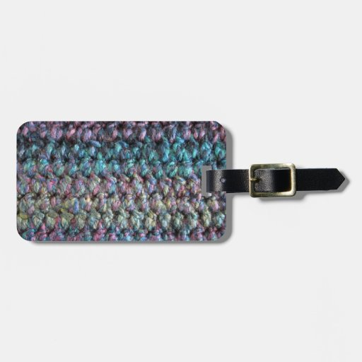 Striped crocheted knitted wool travel bag tag