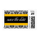 Striped Damask Save the Date Yellow Stamp