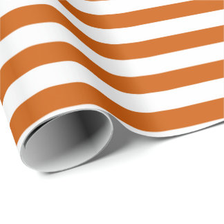 Striped Design Burnt Orange Wrapping Paper