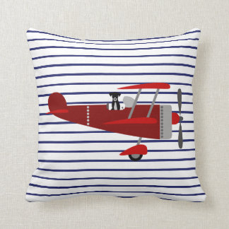 Striped Dog in Airplane Throw Pillow
