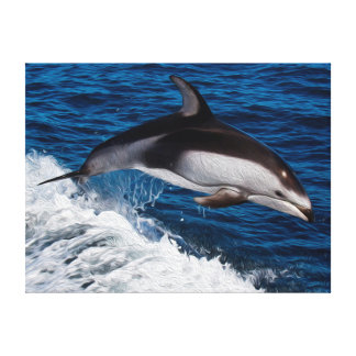 Striped Dolphin Riding Wake Canvas Prints