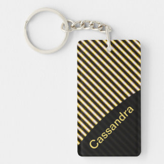 Striped Double-Sided Rectangular Acrylic Keychain