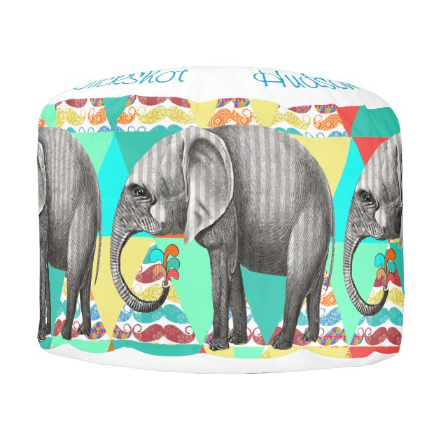 Striped Elephant Abstract Mustache Art Pouf Zazzle
