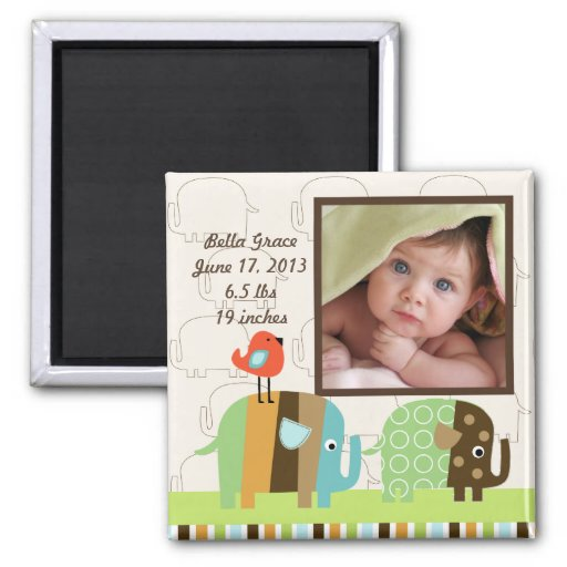 Striped Elephants Photo Frame Magnet
