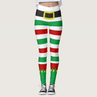 Striped Elf Green Red Christmas Novelty Leggings