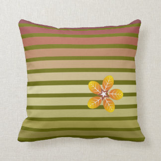 Striped fall pattern and flower in autumn colors throw pillow