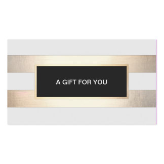 Striped FAUX Gold and Black Plaque Gift Card Double-Sided Standard Business Cards (Pack Of 100)