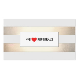Striped FAUX Gold and Black Red Heart Referral Double-Sided Standard Business Cards (Pack Of 100)