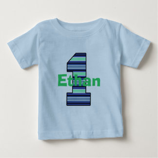 Striped First Birthday Boy T-Shirt