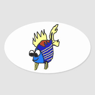 Striped Fish Oval Sticker