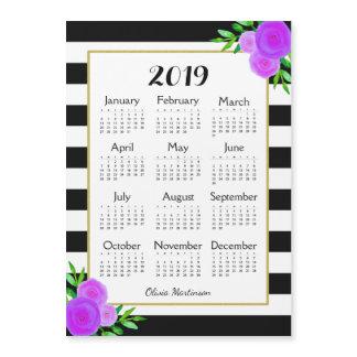 Striped Floral Monogram Magnetic 2019 Calendar