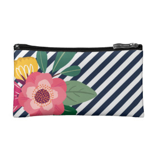 Striped Floral Pouch